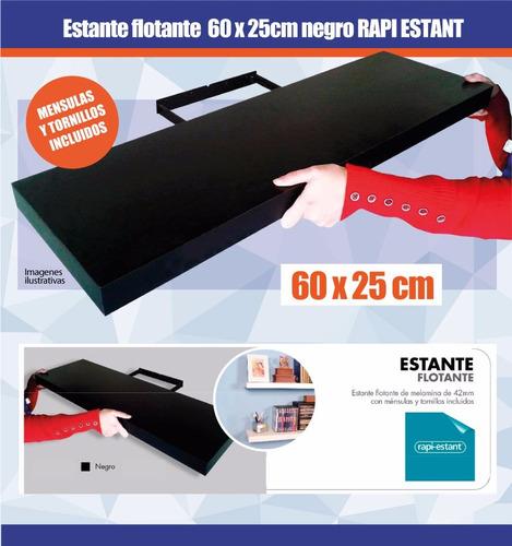 estante flotante 60 x 25cm negro rapi-estant plc009