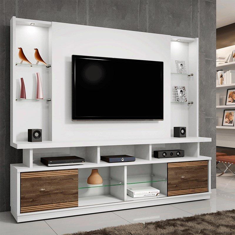 Estante Home Theater Para Tv Até 55 Polegadas Aron: Estante Home Branco Para Tv Até 55 Polegadas 2 Portas E