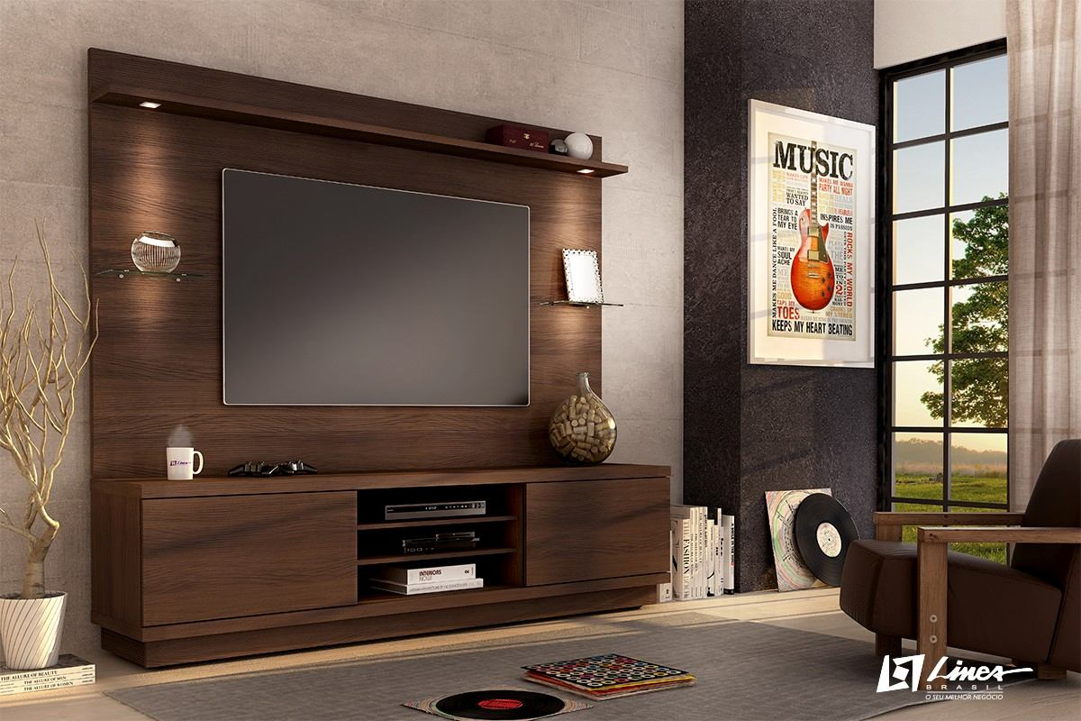 estante home chicago painel tv home theater chocolate fosco r 999 00 em mercado livre. Black Bedroom Furniture Sets. Home Design Ideas