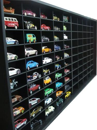 estante miniaturas hot wheels preta 100 nichos black marujo
