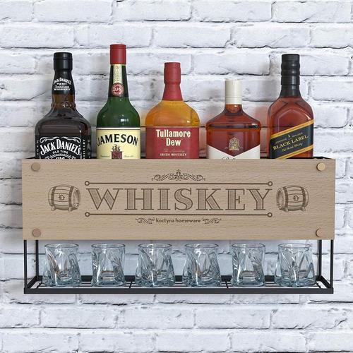 estante minibar de pared licores y vasos diseño de whisky lp