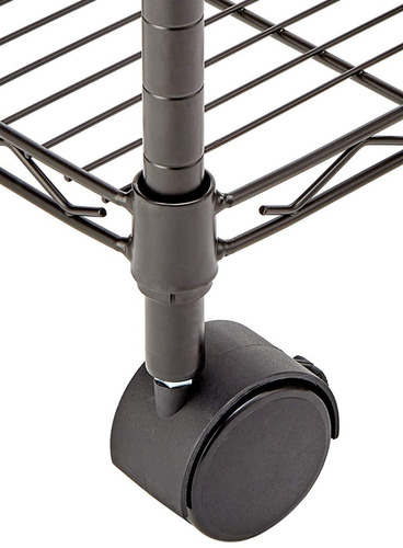 estante organizador 3 niveles metal negro con ruedas
