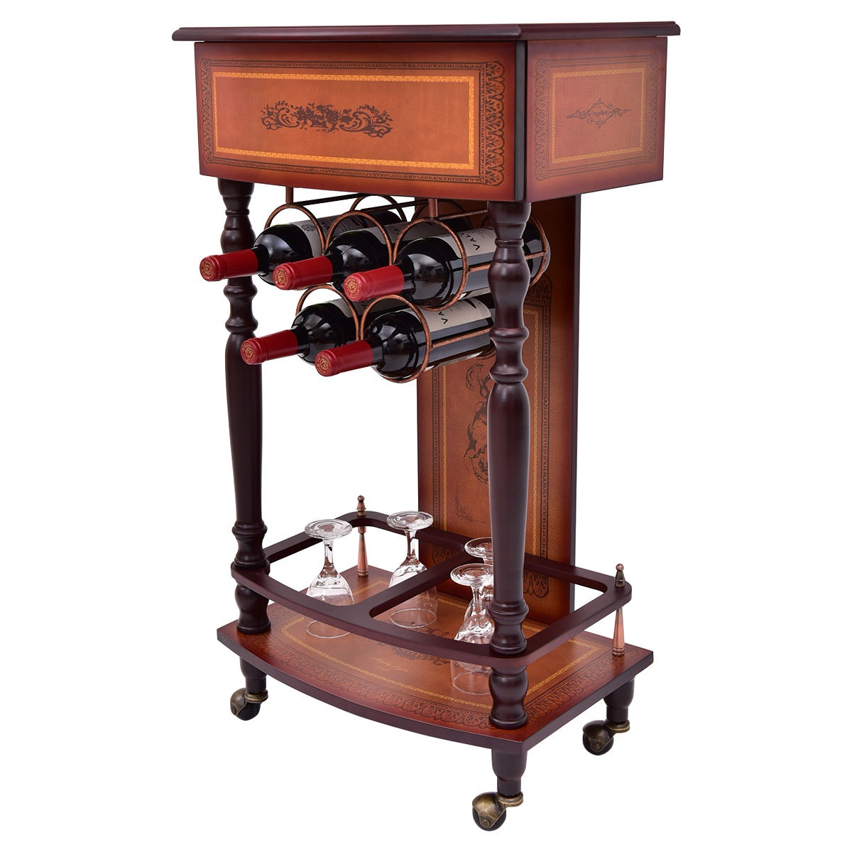 Estante para botellas licor vintage madera vino mueble bar for Mueble bar de madera