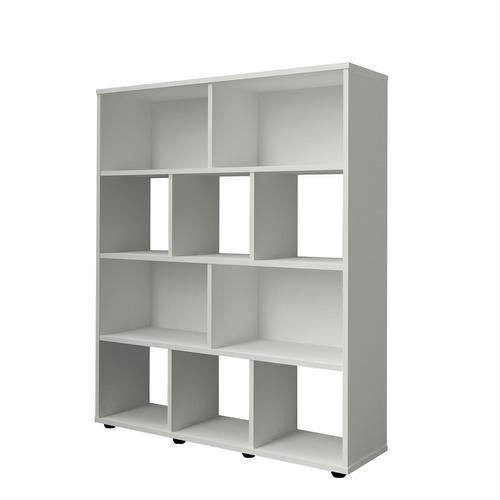 estante para livros rack book 3 prateleiras branco - artely