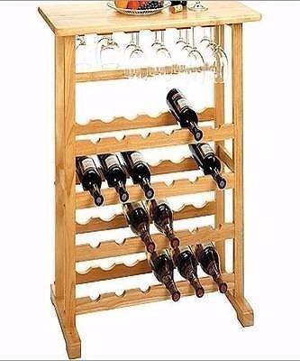 Estante para vino 24 botellas y copas en madera haya - Estantes para vinos ...