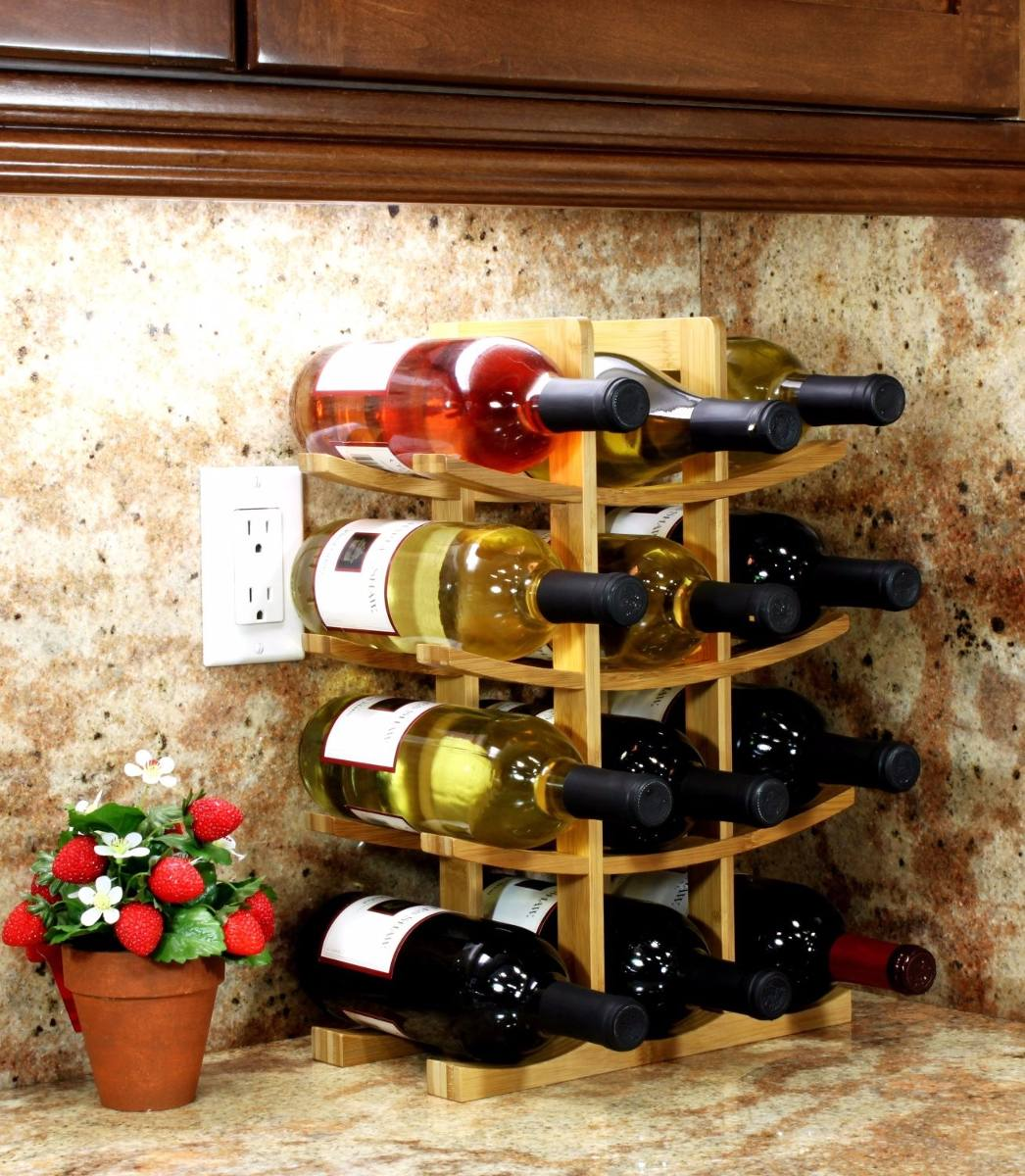 Estante para vino portavinos color natural 12 rack for Estantes para vinos