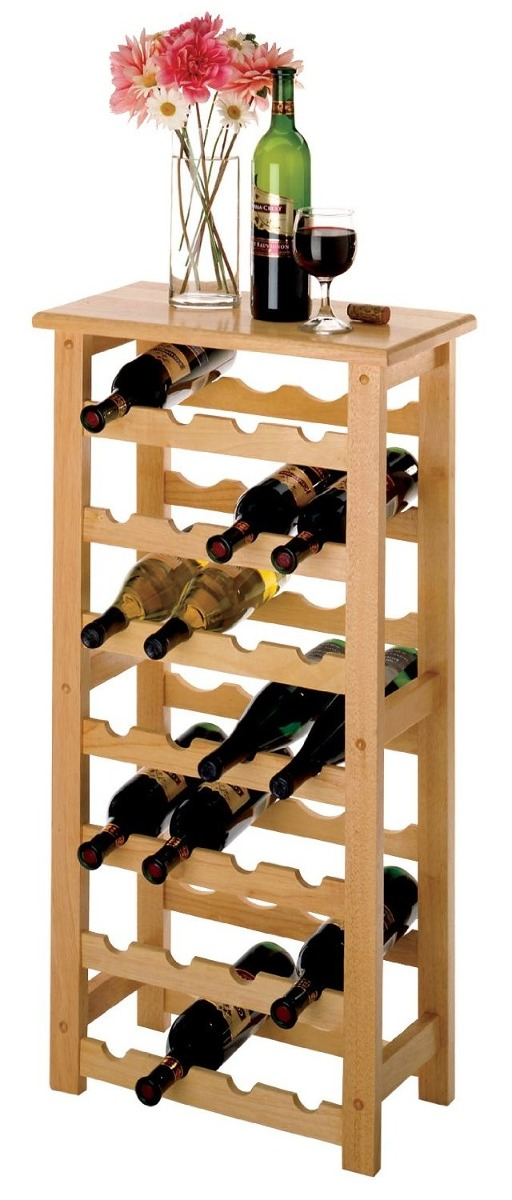 Estante para vino windsome wood color natural 28 botellas for Estantes para vinos