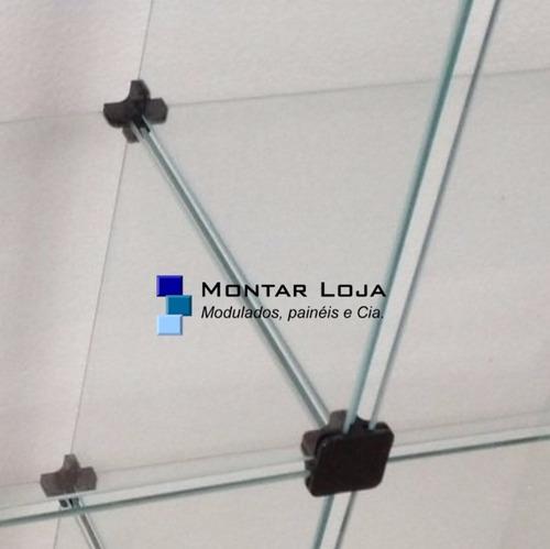 estante prateleira de vidro 30 colmeias 40cm com aparas 10cm