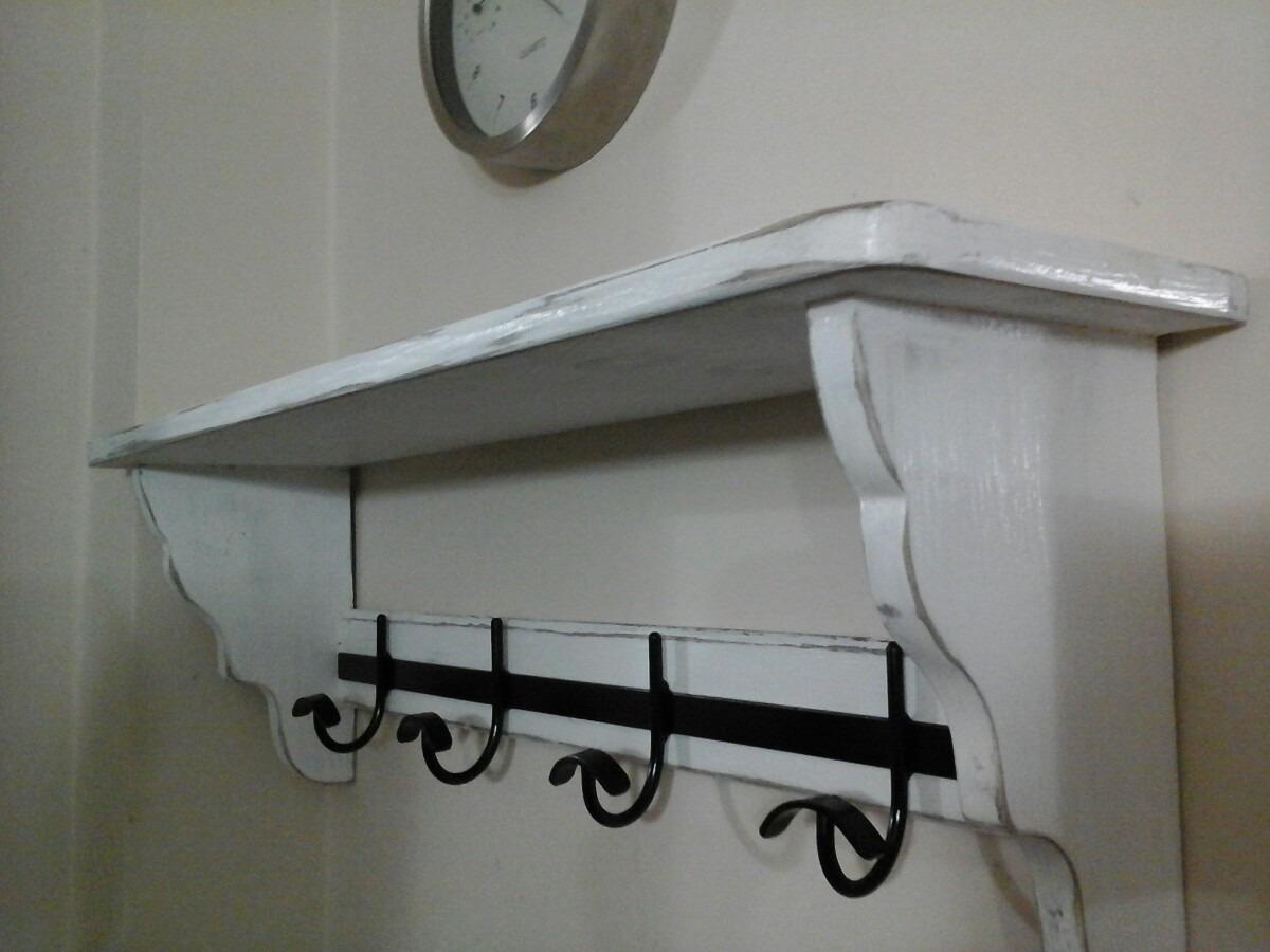 estante repisa 80cm 5perchas vintage blanco decapado. Cargando zoom. cf89e040b527