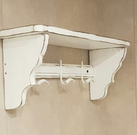 Estante Repisa 80cm 5perchas Vintage Blanco decapado -   1.600 551dab739302