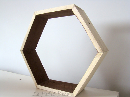 estante repisa hexagonal de madera reciclada palet