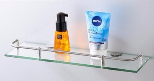 estante repisa vidrio baranda rectangular baño espejo acero