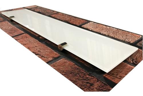 estante repisa vidrio coverglas blanco 5mm 60x10 c/soportes