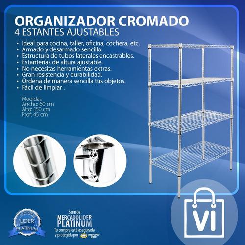 estanteria 4 estantes metalico cromado rack multiuso cocina