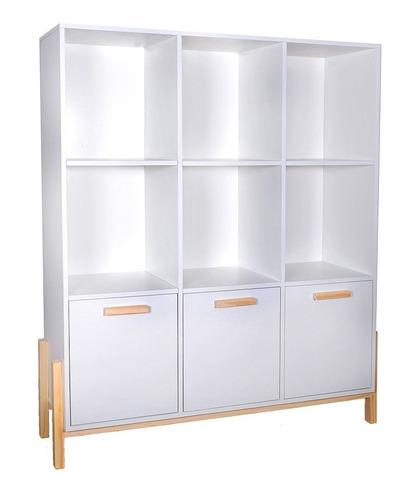 estantería biblioteca con 3 puertas 6 nichos fusion blanco