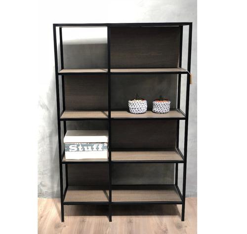 estanteria doble estilo industrial símil madera 4 estantes
