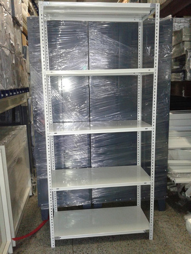 estantería metálica 42x90x200m 5 estantes c/u 50 kg reforzad