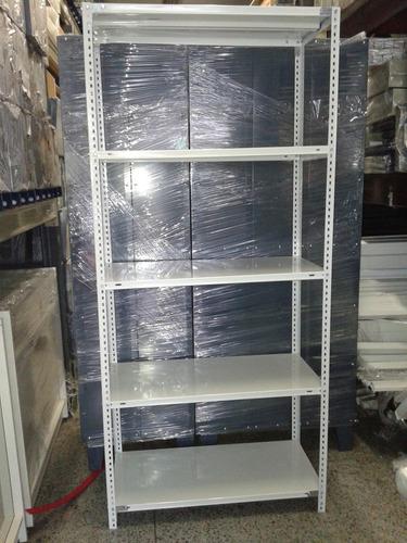 estantería metálica blanca 30x75x200m c/5 est p/40 kg