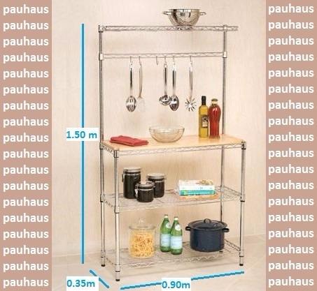 estantería metálica cromada multifunción cocina-comedor-etc