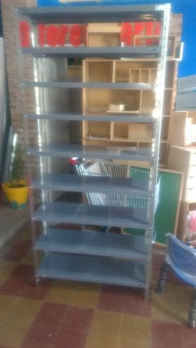 estantería metálica de 30cm x 90cm x 200 con 5 estantes gris