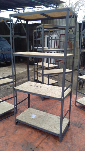 estanteria metalica en hierro con madera