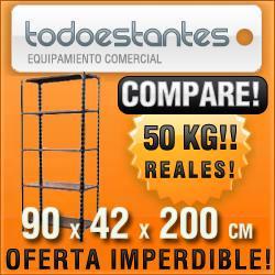 estanteria metálica42x90x2mts para 50kg c/ refuerzo compara!
