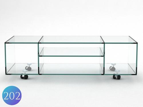 estantería / modular en vidrio con ruedas.
