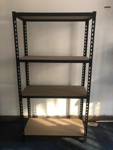estantería modular metal y madera con estantes