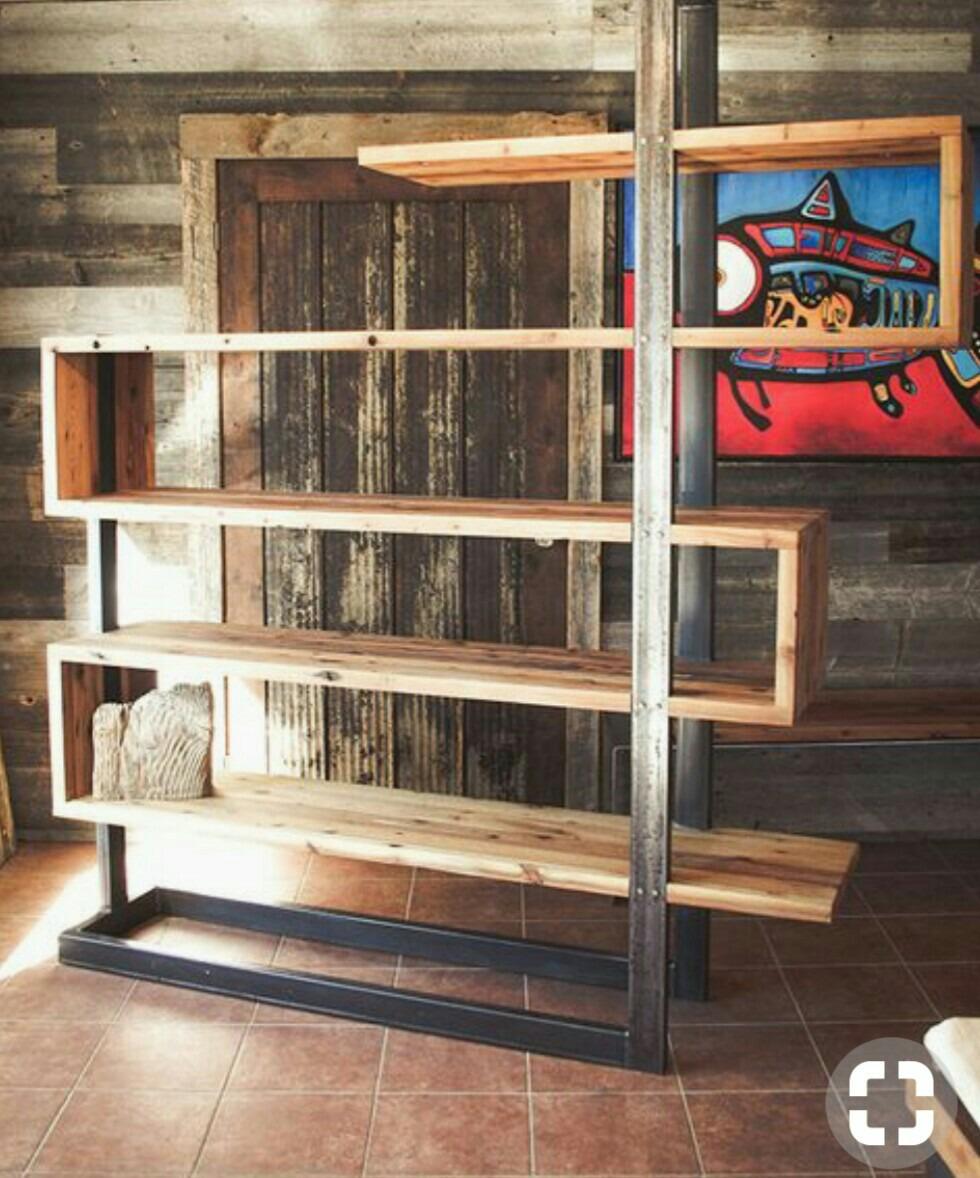 Estanterias Rusticas Metal Madera Us 10000 En Mercado Libre - Estanterias-rusticas-de-madera