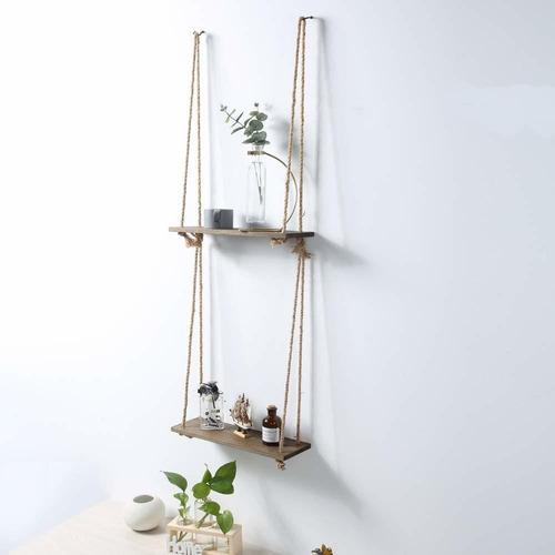 estantes flotantes colgantes de cuerda de madera, estan...