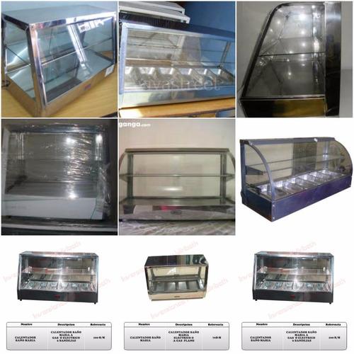 estantes metálicos, vitrinas mostradores, hornos y cocinas