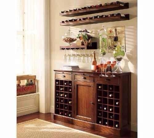 estantes minimalistas mini bar para vinos y copas 2 x 1