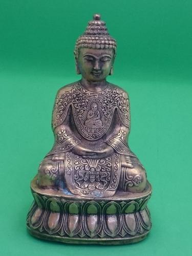 estátua buda em flor de lotus 13 cm de altura por 7,3 cm