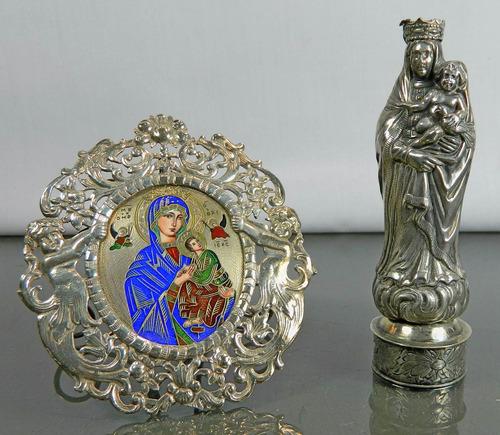 estatua virgen y jesús plata repujada españa siglo 19