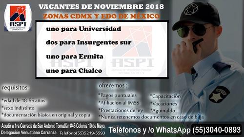 este mes de noviembre vacantes para guardia de seguridad