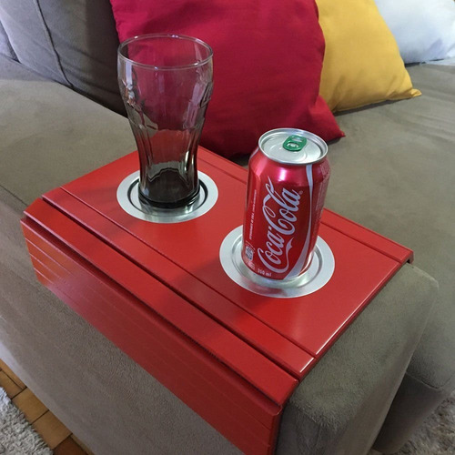 esteira bandeja braço sofá vermelha porta copo alumínio