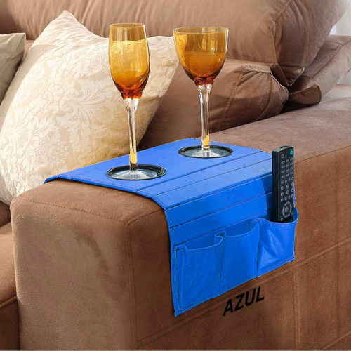 esteira bandeja para-braço de sofá com porta copo