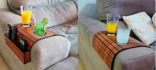esteira bandeja sofa porta copo + esteira controle caixote