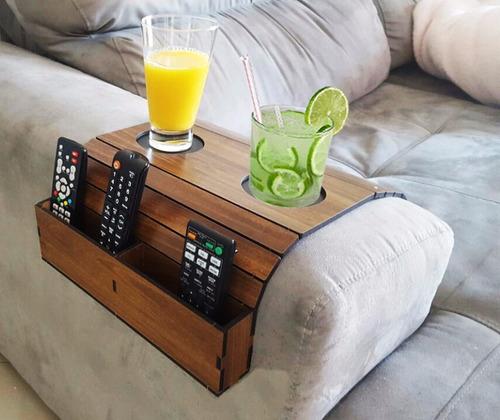 esteira bandeja sofa porta copo + esteira controle caixote i
