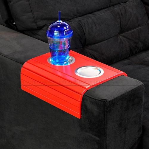 esteira braço sofá porta copo alumínio bandeja alto padrão