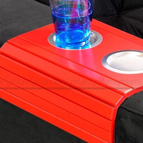 esteira braço sofá porta copo alumínio vermelho bandeja sala