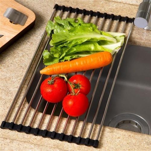esteira escorredora dobrável multifunções em aço inox prana