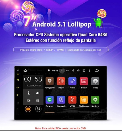 estereo doble din android mirror link pantalla 7 wifi bt usb
