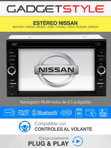 estereo nissan pantalla gps hd dvd bluetooth ipod tv usb sd