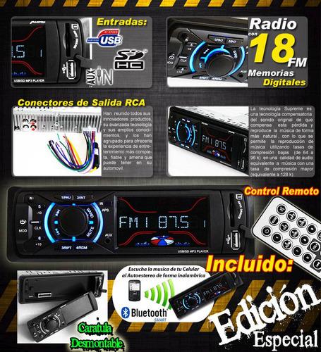 estereo p/ automovil bluetooth radio usb sd desmontable ctrl