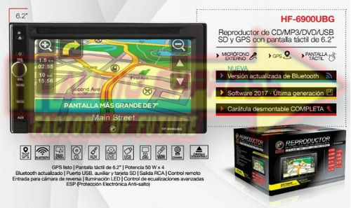 estereo reproductor hf cd/mp3/dvd/usb/sd y gps hf6900ubg