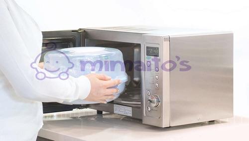 esterilizador a vapor microondas avent + 4 teteros original