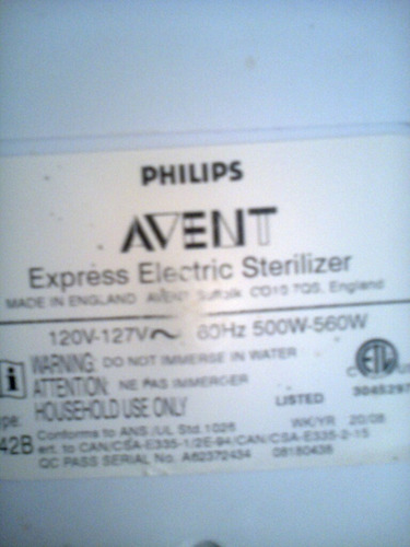 esterilizador de teteros marca avent