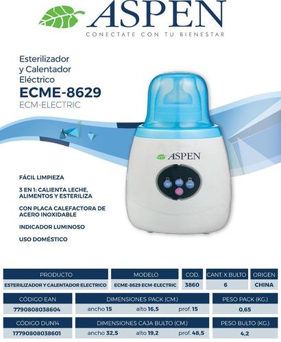 esterilizador y calentador de mamaderas aspen ecm8629