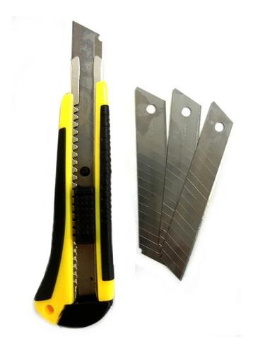 estilete 18mm profissional c/ refil 3 lâminas alta precisão